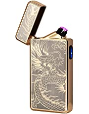 Electric Lighter,Dual Arc Plasma Lighter USB Rechargeable Lighter Electronic Windproof Lighter Cool Flameless Butane Free Lighter for Candle,Fireworks,Incense(Gold Dragon)