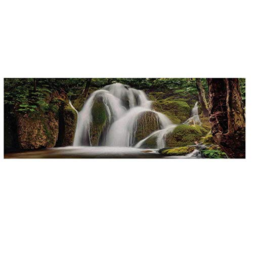 Scenery House Decor Cotton & Linen Microwave Oven Protective Cover,Epic Waterfall Down The Cliffs Deep in Forest Natural Wonders Picture Cover for Kitchen,36