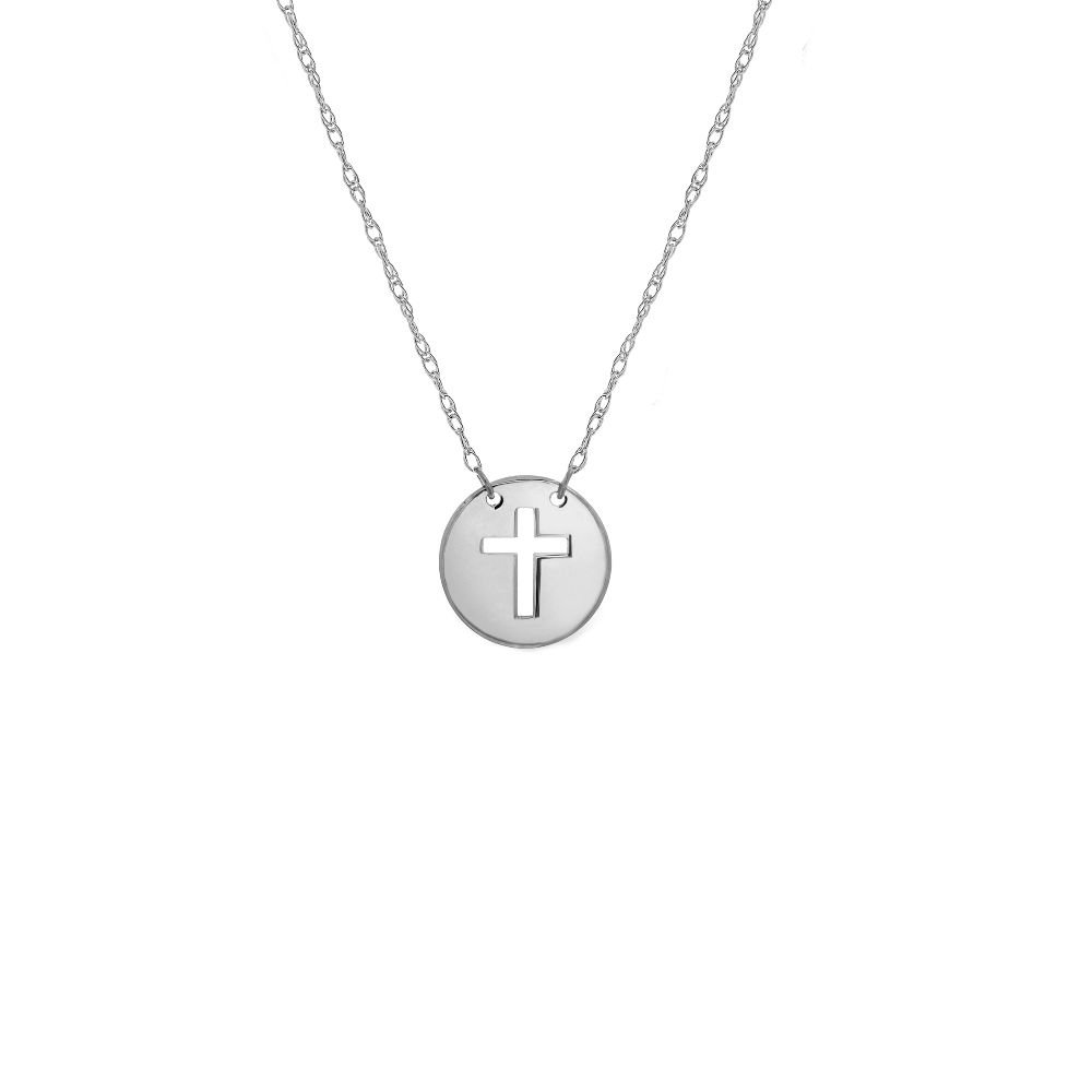 Mini Disc Cut Out Cross 14kt White Gold Adjustable Necklace