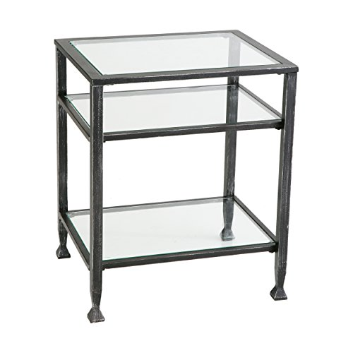 Glass Wide End Table - Southern Enterprises Bunching Glass Side End Table, Black with Silver Distressed Finish