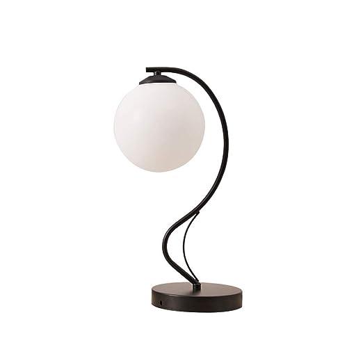 LifeX Lámpara de mesa con forma de bola de cristal blanca nórdica ...