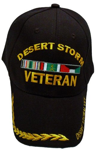 Desert Storm Cap Veteran Black Baseball Golden Wreath US Vet Hat Army Marines