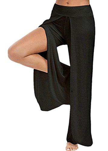 Ragazza Libero Vita Larga Elastica Pantaloni Palazzo Accogliente Fashion Spacco Donna Yoga Estivi Eleganti Pantaloni Tempo Abbigliamento Chic Baggy Pantaloni Gamba Pantaloni Nero Pantaloni Monocromo YFP6WaP