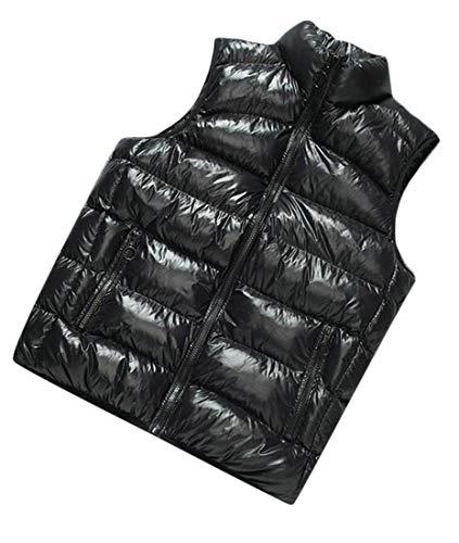 - Hajotrawa Men's Puffer Sleeveless Down Winter Cotton Padded Shiny Vest Jackets Coat Black X-Large