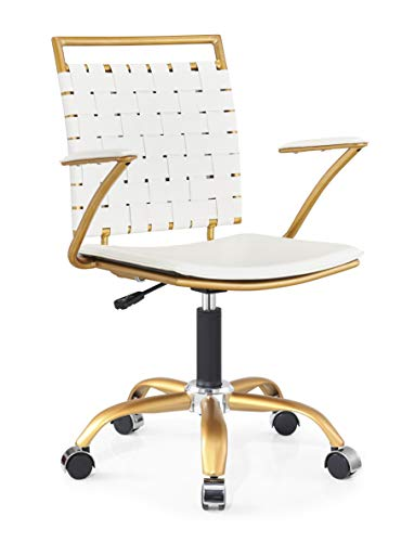 LUXMOD White and Gold Desk Chair, Adjustable Swivel Chair with Golden Armrest, Home Office Chair with Durable Woven Vegan Leather, Ergonomic Desk Chair for Extra Back & Lumbar Support – Gold/White