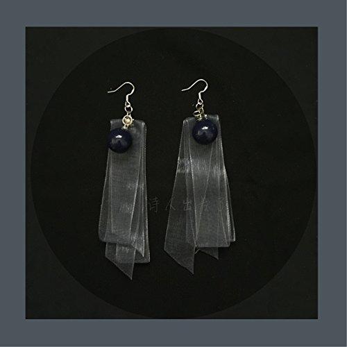 d poet on a business trip   Fairy series lead gray-blue organza earrings ear clip earrings earrings small face - Organza Cuff