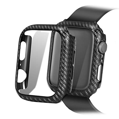 Carbon Fiber Texture Apple Watch Case Series 4/3/2/1 - Hard PC Frame Case High-Gloss/Twill Weave Finish Protective Bumper Cover Compatible 38/40/44/42 ()