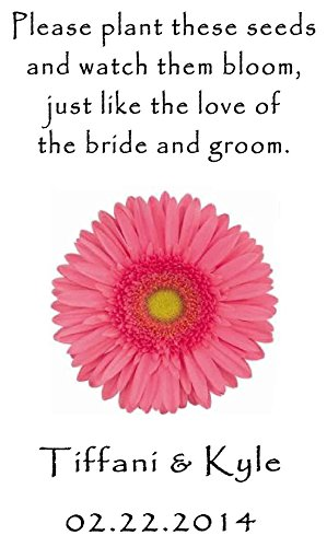 Personalized Wedding Favor Wildflower Seed Packets Pink Daisy Design 6 verses to choose from Set of -