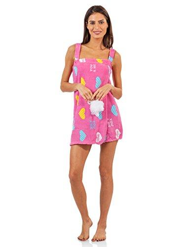 Adult Wrap Bath (Casual Nights Women's Plush Fleece Shower Wrap Bathrobe with Soap Sponge - Pink Love Hearts - X-Large)