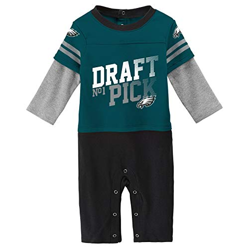 Outerstuff NFL Philadelphia Eagles Newborn & Infant Draft Pick Long Sleeve Coverall Jade, 3-6 Months