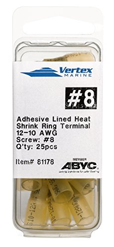 [Ring Terminal Marine Grade - Adhesive Lined Heat Shrink - A81178 - 12-10 AWG - #8 Stud - 25 Pack] (Heat Shrink Ring)