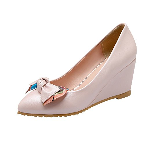 Latasa Womens Fashion Bow Pointed-toe Mid Heel Wedge Pumps Shoes Pink
