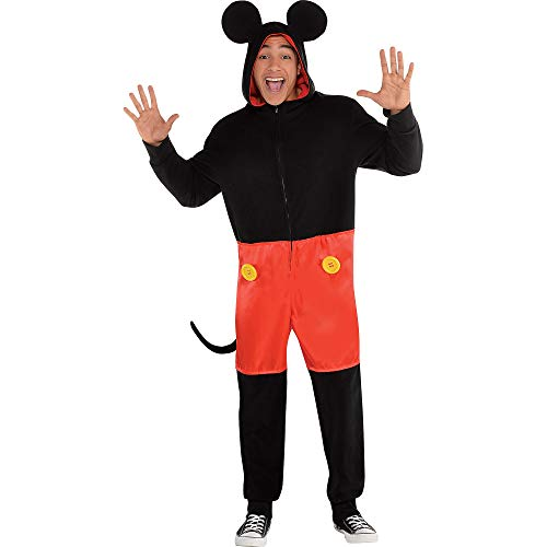 Party City Zipster Mickey Mouse One Piece Halloween Costume for Men, Large/Extra Large