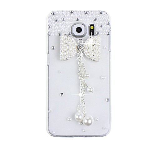 KAKA(TM Fashion Style White Bowknot Chain Pattern 3D Handmade Rhinestone Bling Crystal Pearl Flower Transparent Case Cover Clear Hard Case for Samsung Galaxy Note 5