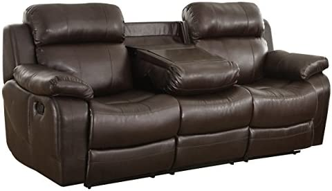Homelegance Marille Reclining Sofa w Center Console Cup Holder, Brown Bonded Leather