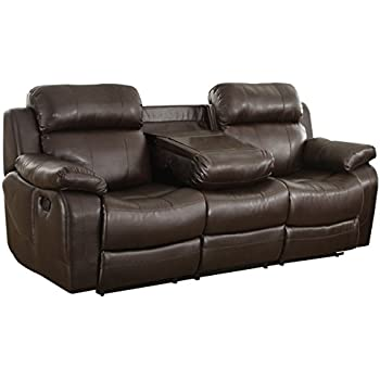 Homelegance Marille Reclining Sofa W Center Console Cup Holder Brown Bonded Leather