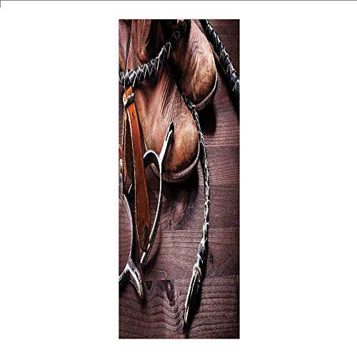 - Decorative Privacy Window Film/Authentic Old Leather Boots and Spurs Rustic Rodeo Equipment USA Style Art Picture/No-Glue Self Static Cling for Home Bedroom Bathroom Kitchen Office Decor Brown