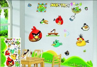 Angry birds wall stickers h wall decal for Angry birds wall mural