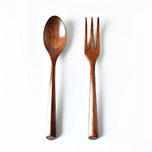 ZHU YU CHUN Natural Wooden Fork and Spoon Salad Servers (1 Spoon, 1 Fork) (brown)