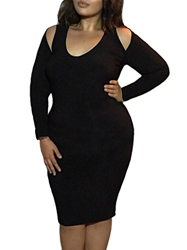 Romastory Women's Plus Size Strapless Long-sleeved Bodycon Stretch Club Dresses (XX-Large, Black) (Fitted Black Dresses)