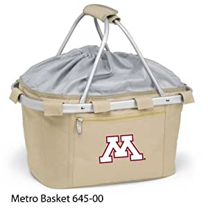 Picnic Time 645-00-190-362-0 University of Minnesota Embroidered Metro Picnic Basket, Beige