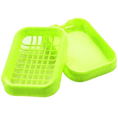 Sun Glower 2 Stück Kunststoff Doppelschicht Container Seifenschale Lagerung Inhaber Box Badezimmer Grün Dusche Seifenkiste-Lagerung Seife (Farbe : Green)