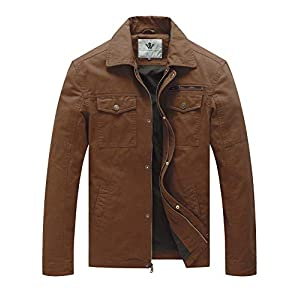 WenVen Men's Spring Canvas Cotton Military Lapel Jacket 16