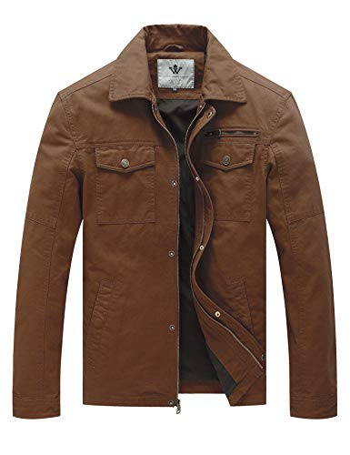 WenVen Men's Canvas Cotton Military Lapel Jacket(Coffee,M) ()