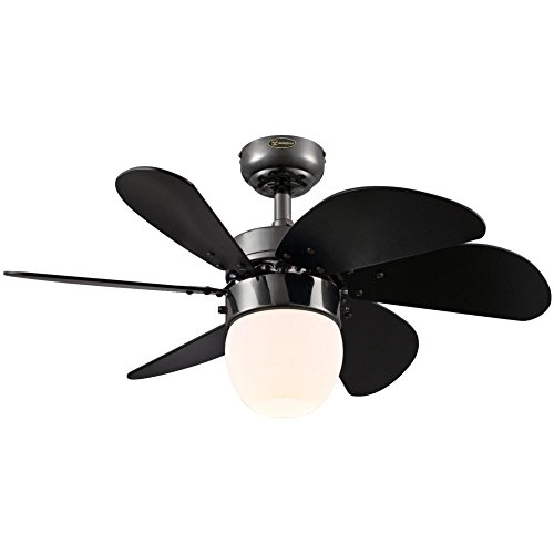 - Westinghouse Lighting 7226100 Turbo Swirl CFL Single-Light 30-Inch Six-Blade Indoor Ceiling Fan, Gun Metal with Opal Frosted Glass