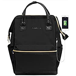 KROSER Laptop Backpack 15.6 Inch Daypack With USB Port/Water Repellent P.U. leather Nylon Briefcase Laptop Bag Business Bag Tablet for College/Travel/Business/Sports/Women/Men-Black