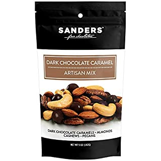 Sanders Artisan Mix Dark Chocolate Caramel Gourmet Trail Mix, Super Premium Chocolate Covered Dried Fruit and Nuts Snack, 5 oz Resealable Bag