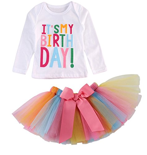 Girls'It's My Birthday Print Shirt Tutu Skirt Dress Outfit Set (White Long Sleeve, 3-4 Years)