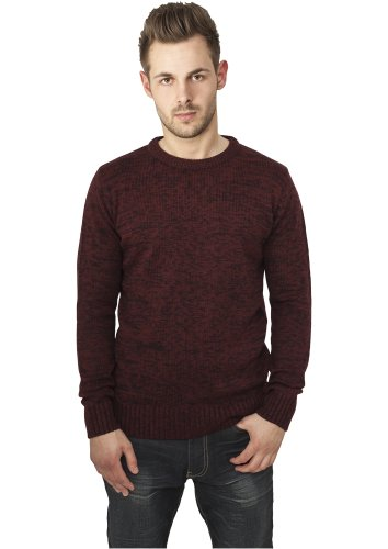 URBAN CLASSICS Herren Melange Knitted Crew TB552 black/ruby XXL