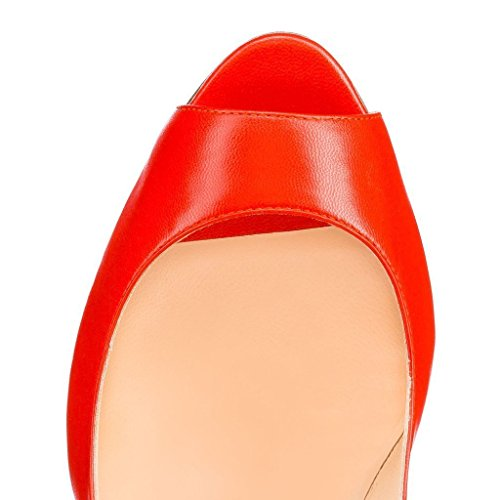 Scarpe Formato Cinghia Donna Rosso Coprono Donne Da Talloni Spuntati Grande Caviglia Della Della Alti Tacco Nansay Pompe Attraversano grF1wqg