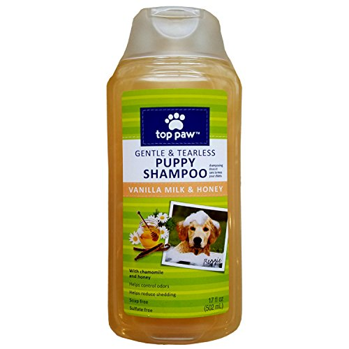 Top Paw Puppy Shampoo, Tearless and Gentle, Vanilla Milk and Honey Scented, 17 OZ Bottle - Puppy Paw