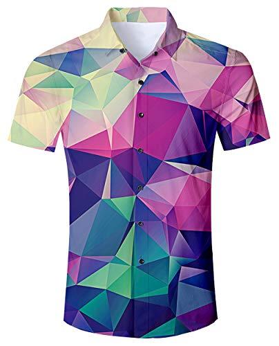 (Men's Hawaiian Shirt Diamond Geometry Print Tropical Beach Aloha Shirt Casual Button Down Short Sleeve Dress Shirt )