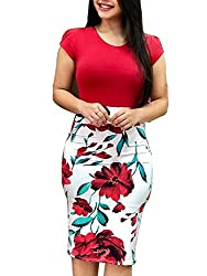 Uinolo Vintage Womens O Neck Bodycon Pencil Dresses Short Sleeve Floral Printed Patchwork Bandage Midi Dress L Red