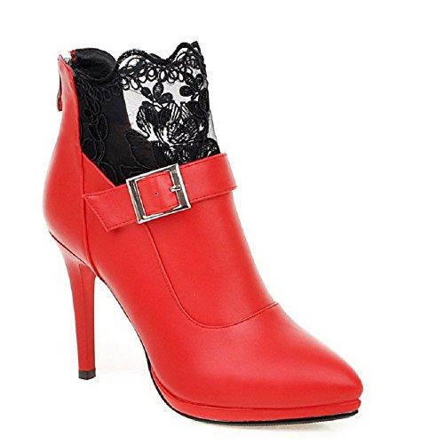 AgooLar Damen Reißverschluss Spitz Zehe Stiletto Stiefel, Rot, 37