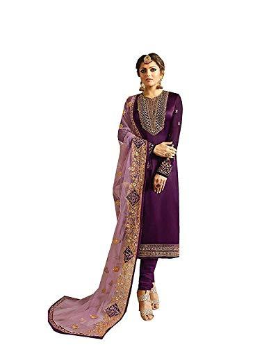 Indian/Pakistani Ethnic wear Silk Embroidered Salwar Kameez Indian Dress Ready to Wear Salwar Suit (Purpal, L-42)