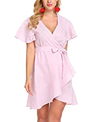 Se Miu Womens Short Sleeve A Line V Neck Classy Casual Swing Dress With Belt Pink White