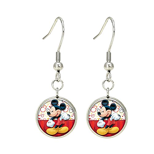 Mickey Mouse Dangle Earrings Silvertone Premium Quality TV Micky Mouse Club House Comics Movies Cartoons ()