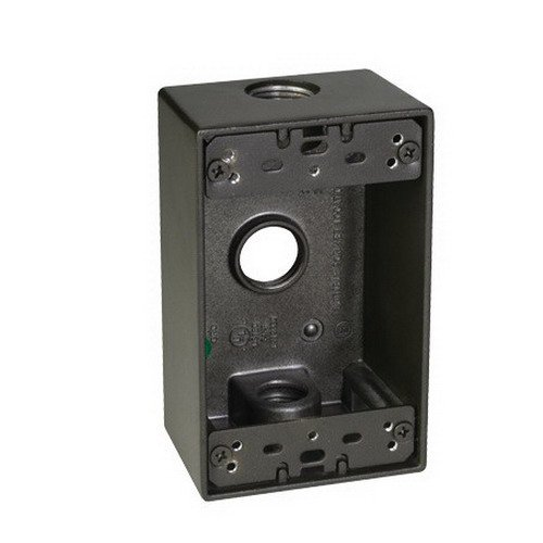 Taymac SB350Z Weatherproof Box, 1-Gang, (3) 1/2-Inch Outlets, Bronze
