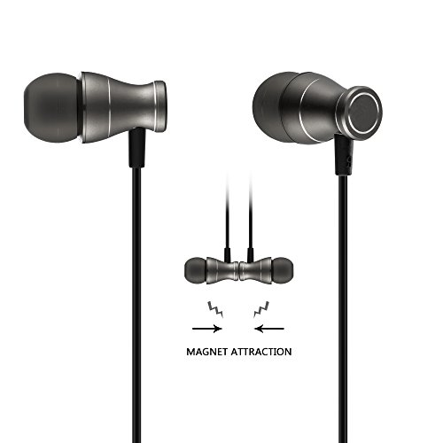in-Ear Earbuds Headphones, Bambud Magnetic Wired Earphones Stereo Bass Noise Cancelling Ear Buds Headsets with Microphone and Volume Control (Black)