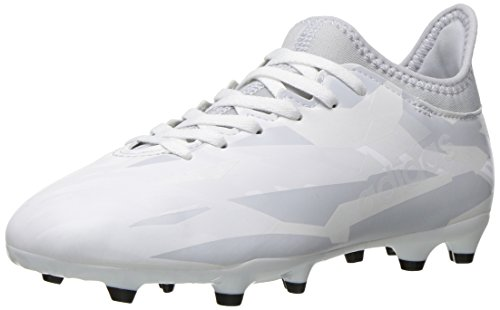 adidas Performance Kids' X 16.3 Firm Ground Soccer Cleat, White/White/Clear Grey, 5 M US Big Kid