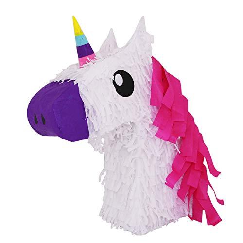 White Unicorn w/Pink Hair Pinata - Mexican Piñata - Handmade in Mexico ()