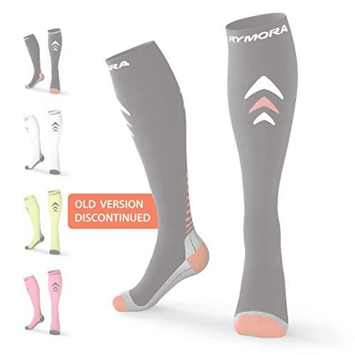 Rymora Compression Socks (Cushioned, Graduated Compression) (One Pair) (Black) (Large: Men 11.5-14 / Women 12.5-15)