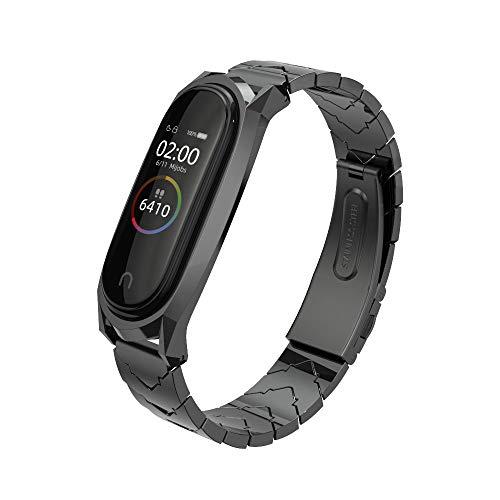MIJOBS Compatible with Xiaomi Mi Band 4, Stainless Steel Replacement Strap Metal Bracelet Accessories for Xiaom Mi Band 3 Wristband (Black)