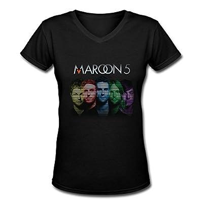 Sunrise Maroon 5 Women's V Neck T-Shirt Black