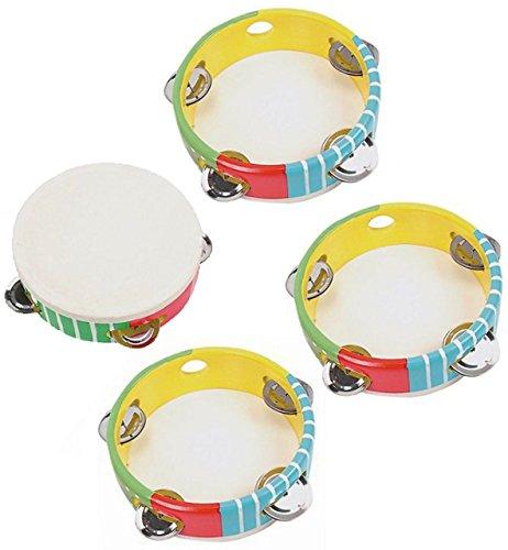 10 Stück: Tamburin - aus Kunststoff - für Kinder & Erwachsene - Musikintrument / Instrument - Perkussion - Tambourin - Musikinstrumente - Schlaginstrument / Kinderinstrument - Metall Schellen / Schelleninstrument - Rahmentrommel - Holzspielzeug