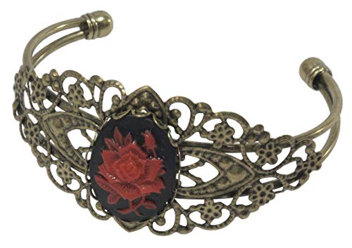 (ViciBeads Bracelet, Gothic Red Rose Cameo(Acrylic) Antique Floral Bronze Bangle Bracelet)